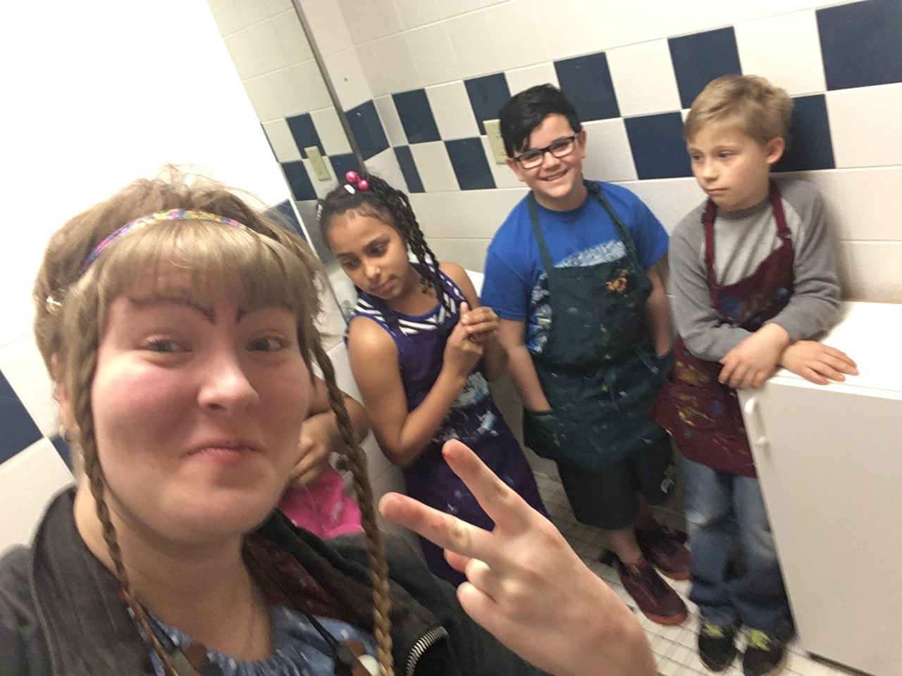 Hiding in the bathroom together was a strange experience :D