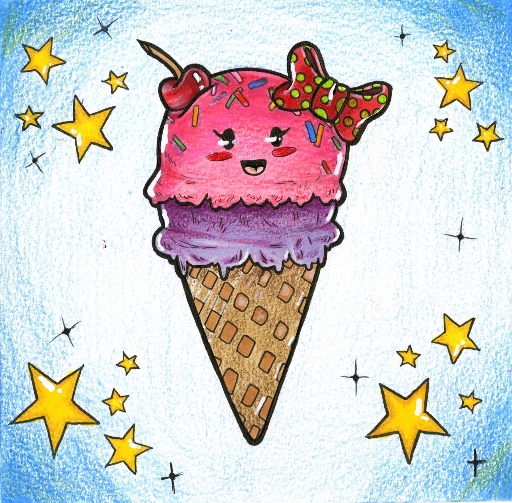 "- Lizbeth Rosas Real, ""Cute Ice-Cream,"" Color-pencil and Copic Markers, 2019"