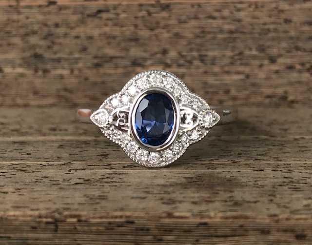 b50564818b43b0 Custom 14k White Gold .84ct Oval Yogo Sapphire Vintage Inspired .25ct Total  Weight Diamond