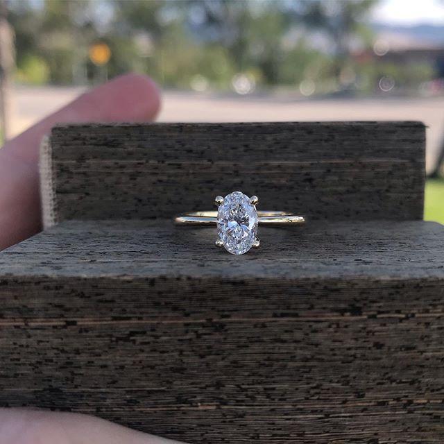 Simply Beautiful... #rogersandco #rogersandcofinejewelry #yellowgoldengagementring #ovalengagementring #diamonds #montanabride #missoula #customjeweler