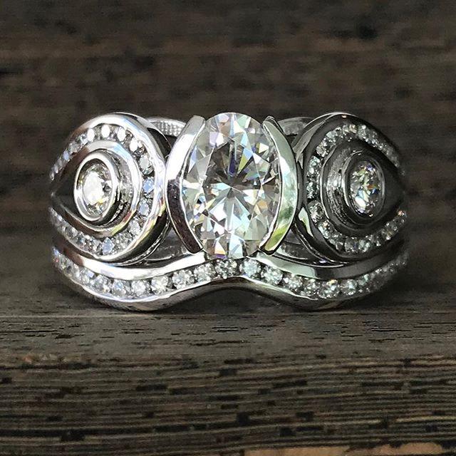 We just finished this wedding set! Perfect style for the active bride!!! #rogersandco #rogersandcofinejewelry #customjeweler #weddingset #halfbezel #channelset #montanabride #missoula