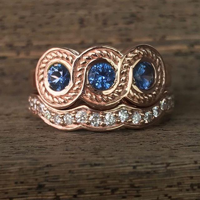 Just finished this unique rose gold Yogo Sapphire & diamond bridal set! Do you like the blue with the rose gold?! #rogersandco #rogersandcofinejewelry #customjeweler #missoula #yogosapphire  #rosegold #uniqueengagementring #animalovers #diamonds