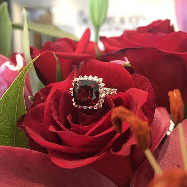 Everyone needs a little red in their wardrobe!!! I love this garnet ring! #garnet #garnetrings #rogersandco #rogersandcofinejewelry #missoulamontana #customjeweler #red