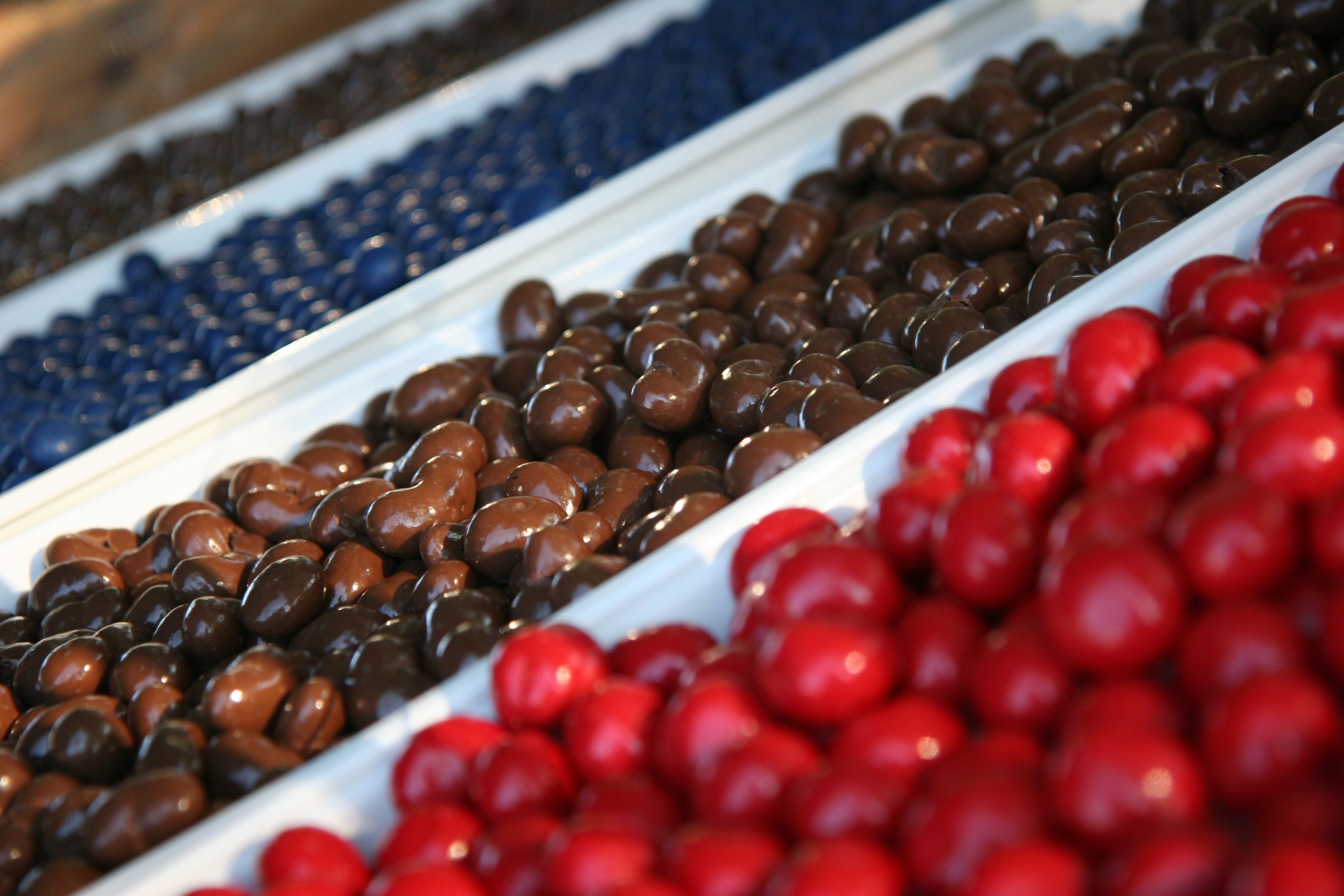 Chocolate covered cherries, cashews, blueberries and almonds.