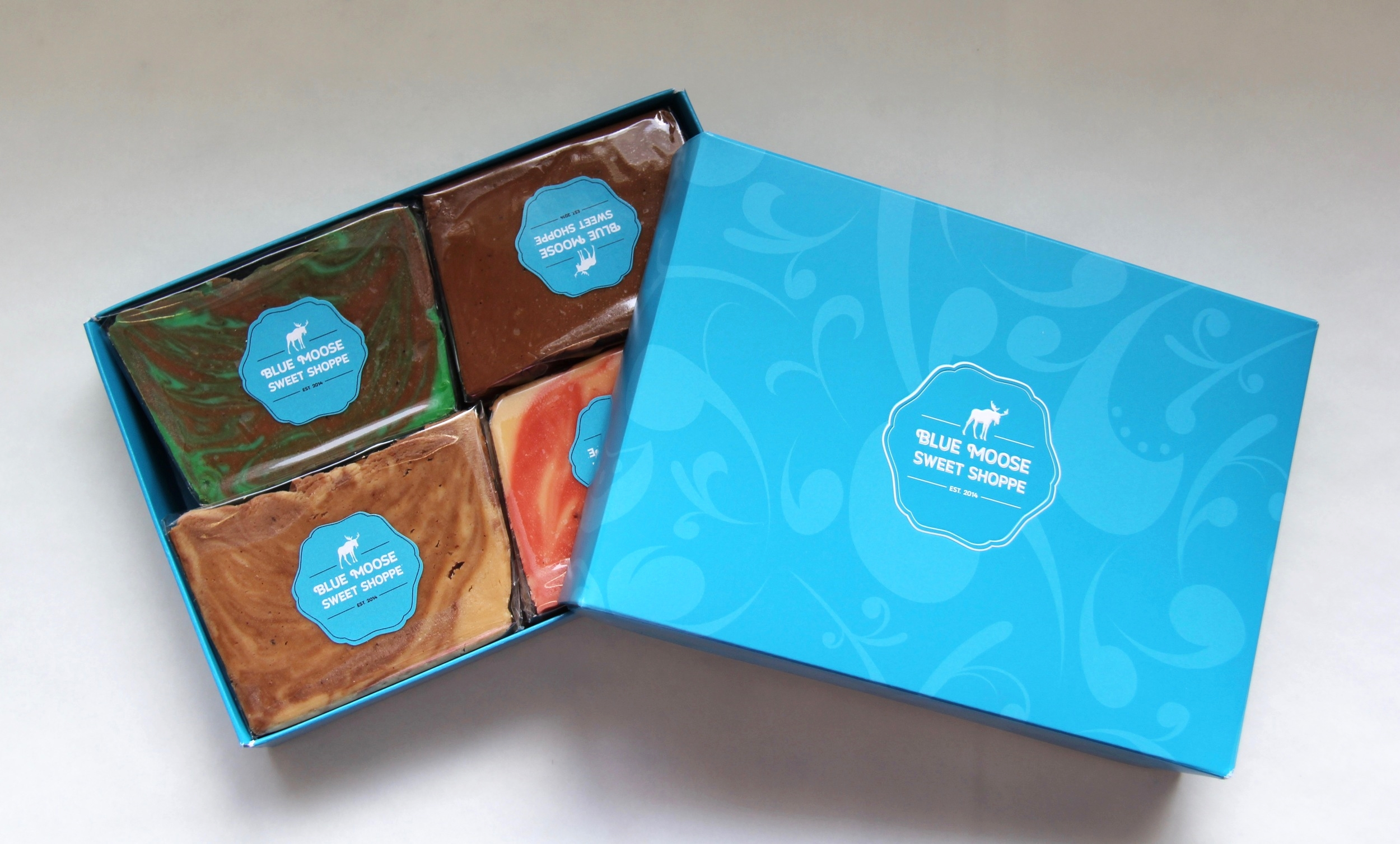 The beautiful gift boxes contain 1 lb or 2 lbs of fudge.