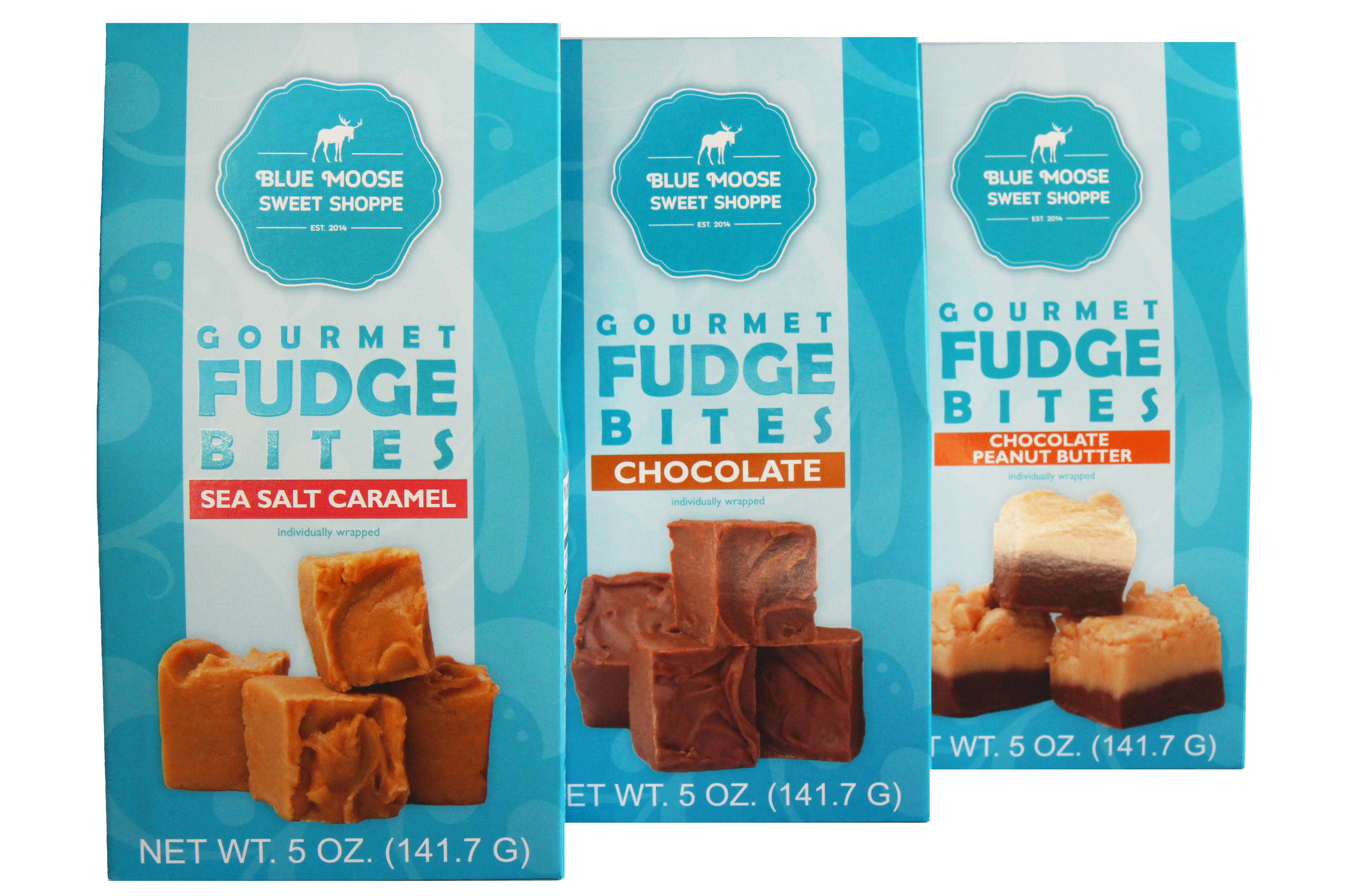 5 oz. gable boxes containing 6 individually wrapped bites of fudge goodness.