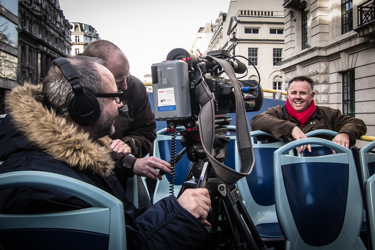 A day filming in London, on an open top bus, in December. Are we mad?