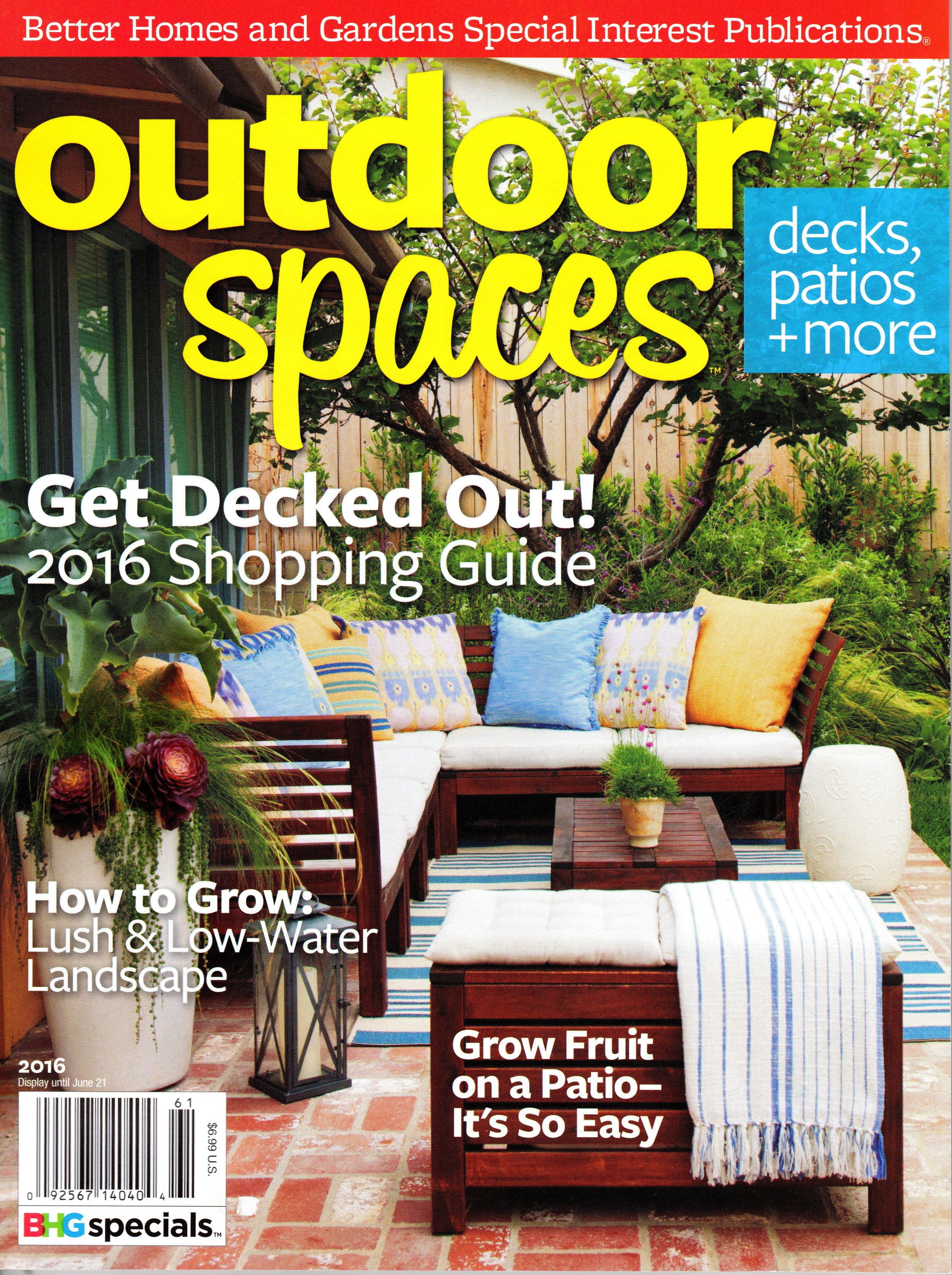 BETTER HOMES AND GARDENS' OUTDOOR SPACES MAGAZINE.. Link to publication imagery