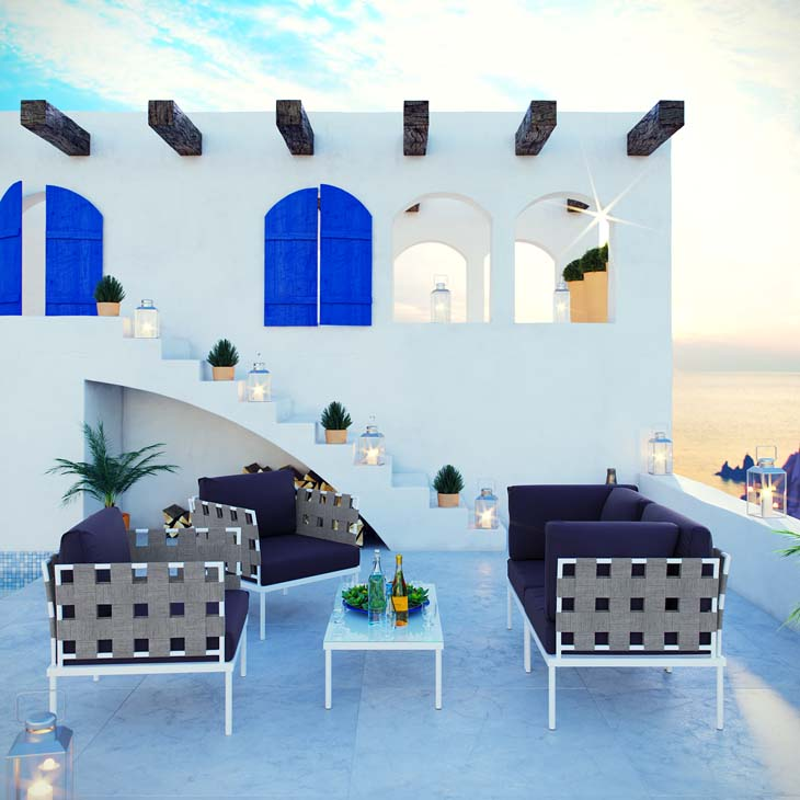 Antigua Lounge Collection in Navy   All-weather waterproof furniture.   Click to shop this collection.   Available with Navy, White, Gray or Beige fabric.