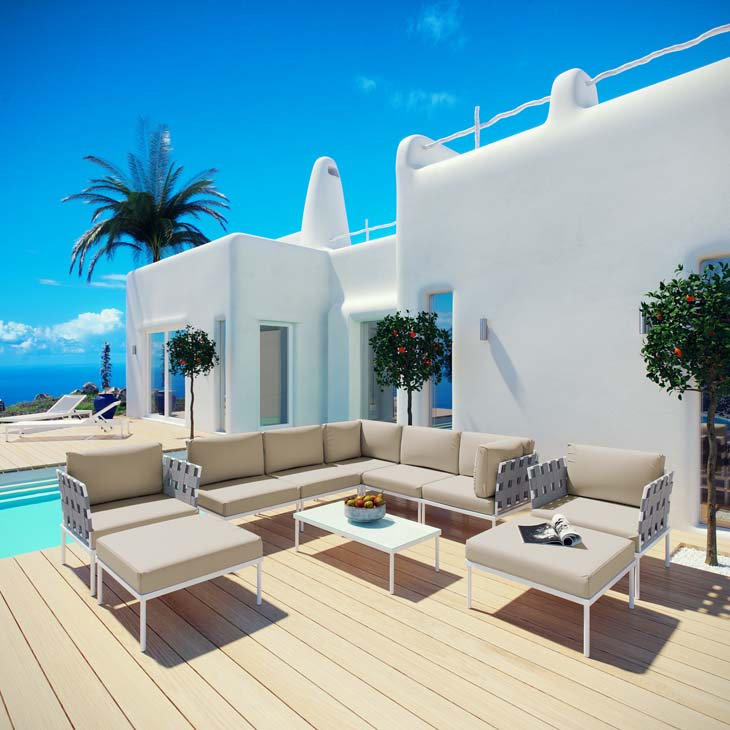 Antigua Lounge Collection in Beige   All-weather waterproof furniture.   Click to shop this collection.   Available with Navy, White, Gray or Beige fabric.