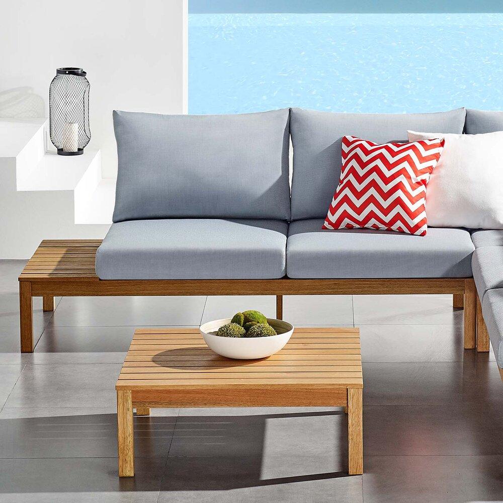 Nassau Karri Wood Loveseat With Right Facing Side End Table In Natural Light Blue Pre Order For Est Shipping 04 20 2021 Living Gardens Landscape Design