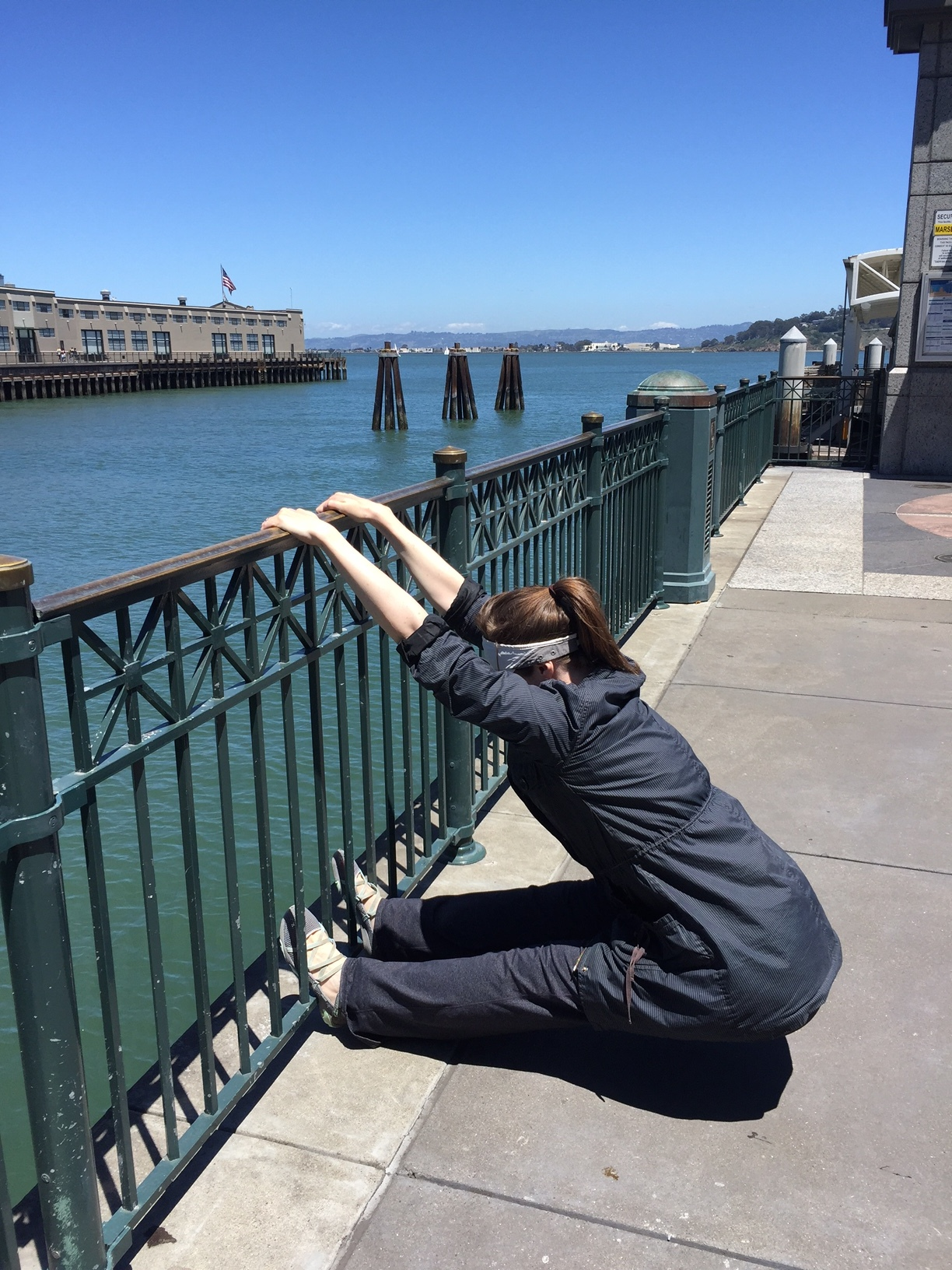 Up dog, down dog...side dog? Me playing around at the Ferry Building, May 2016.