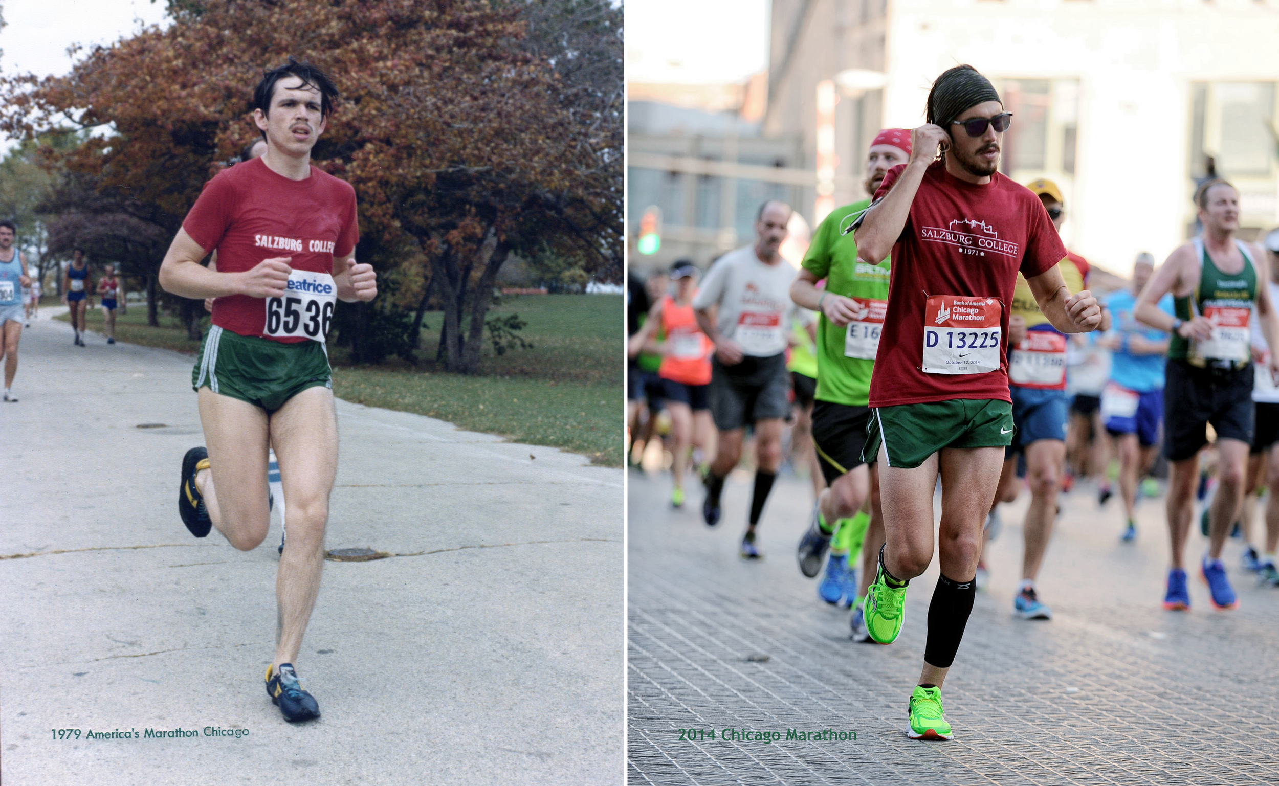 As as kid I can remember digging through an old photo album and holding a 8x10 print of my father running the Chicago marathon in 1979 at the age of 21 and distinctively wanting to replicate the exact photo. So when I qualified for the race earlier this Spring, I didn't hesitate to sign up.     The conditions made it extremely daunting in preparing for this marathon. Over the four months training in Atlantic Beach, FL, I battled humidity percentages equaling the temperature-day in, day out and I didn't have a gym membership so all 600+ miles I ran were on the street and beaches. But it made good practice on the morning of October 12 when the race started in 45 degree weather.   Finished 6,678 / 45,000.  | 3:39