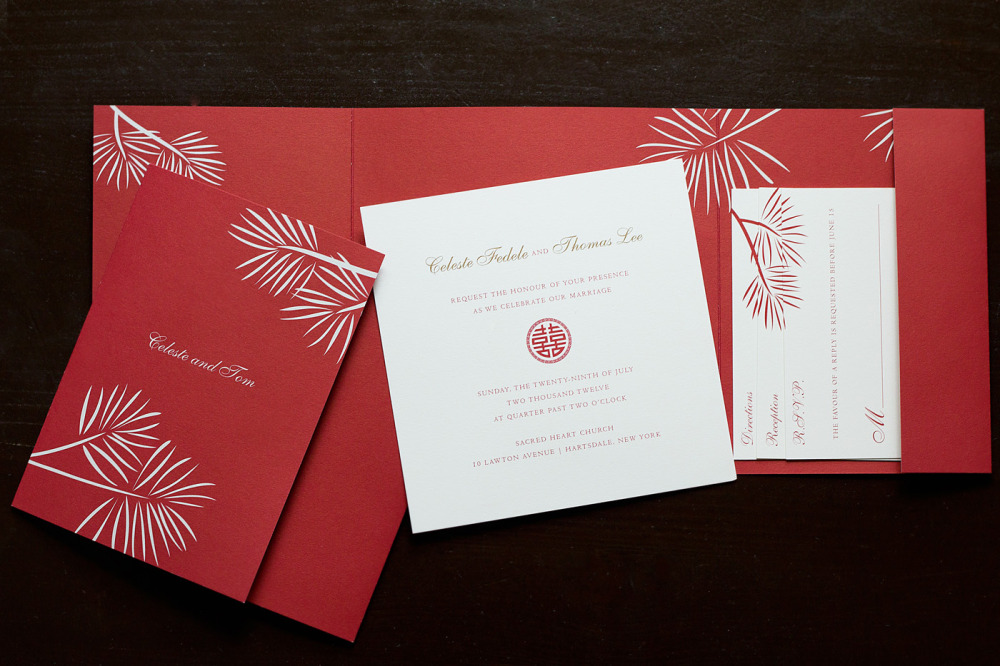 Celeste and Tom   Special Design Notes:  Customizable tri-fold folder offset printed in red on both sides  Printing Method:   Offset; design can be ordered without the folder and invitation panels can be letterpressed   Paper:  Strathmore Natural White