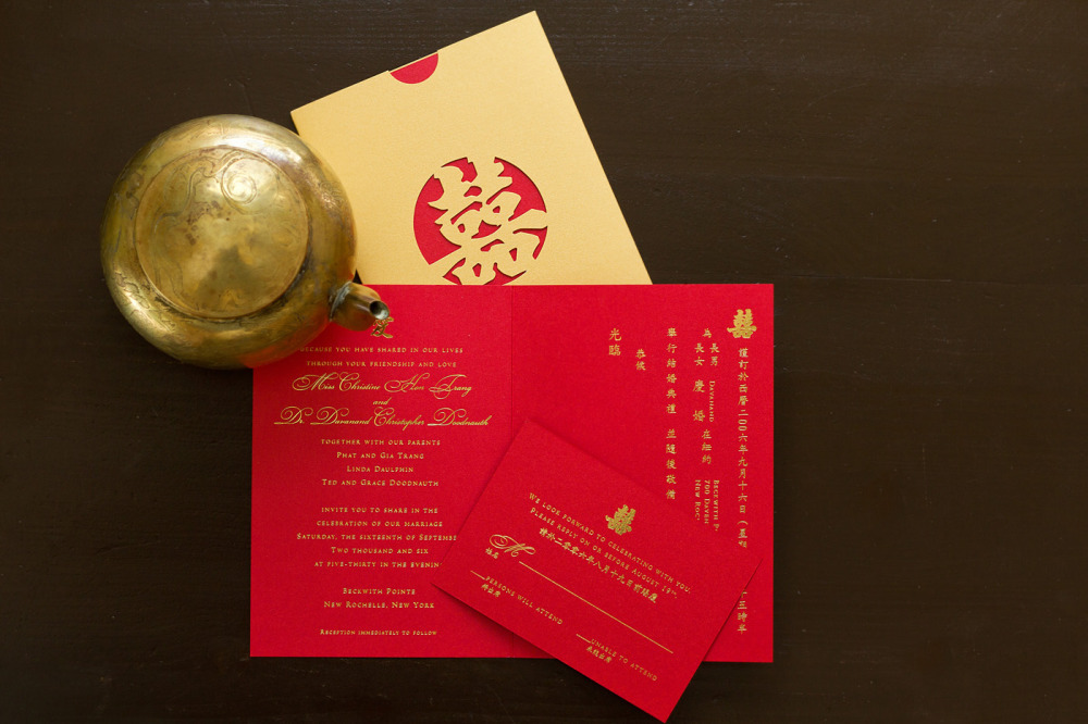 "Christine and Dav   Special Design Notes:  ""Double Happiness"" laser pocket in gold shimmer paper (is also available in red); invitation in English and Chinese  Printing Method:  Gold foil stamping  Paper:  Stardream Metallic"