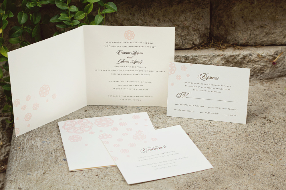 Charina and Jim   Printing Method:   Letterpressed   Paper:  Strathmore coverstock