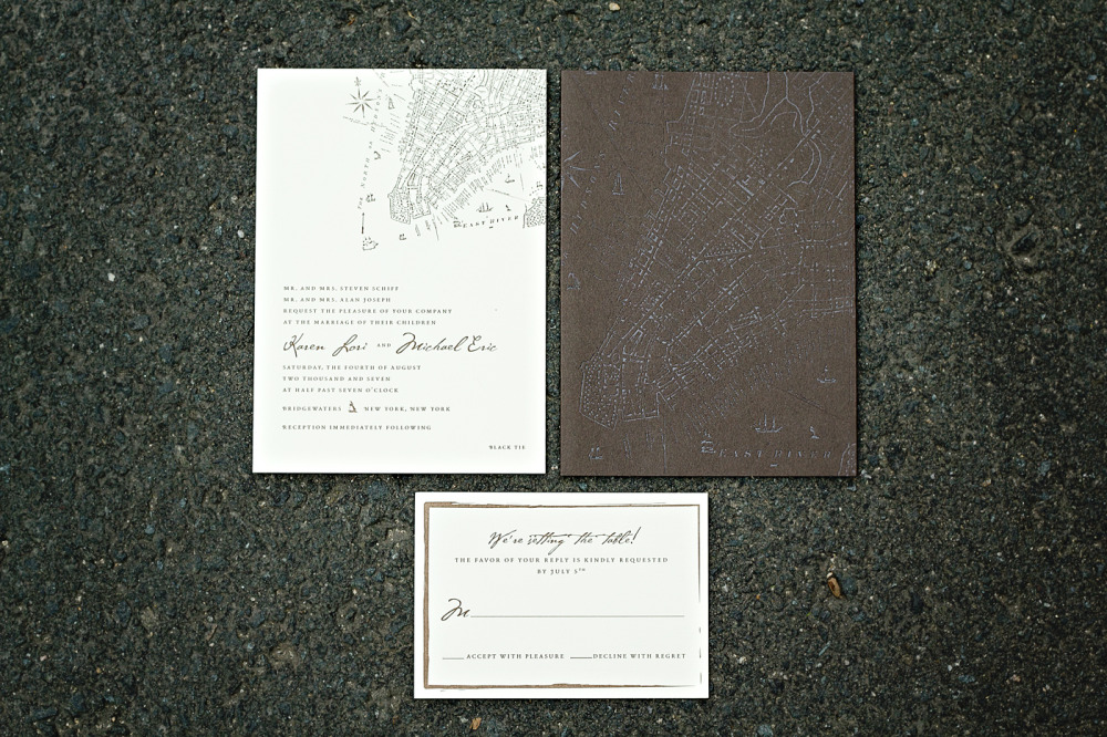 "Karen and Michael   Special Design Notes:   ""Old New York""; vintage map matte foil stamped onto brown cover wrap   Printing Method:  Letterpress and foil stamp  Paper:  Hammermeuille *paper no longer available; please inquire about other options  As seen in:  NewYorkMagazine.com, April 2008"