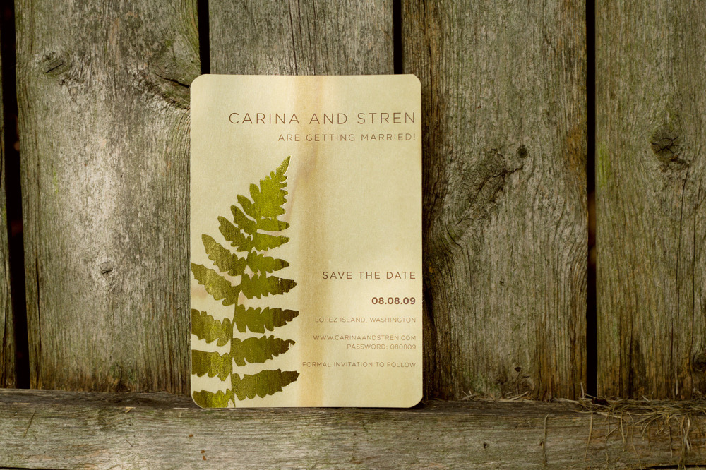 Carina and Stren   Special Design Notes/Theme:  Rounded corners  Printing Method:  Digital press with gold foil stamping accents  Paper:  Poplar Wood