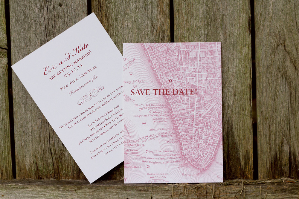 Kate and Eric   Special Design Notes /Theme:  Save the date featuring vintage New York City map of lower Manhattan  Printing Method:  Offset  Paper:  Strathmore Bright White