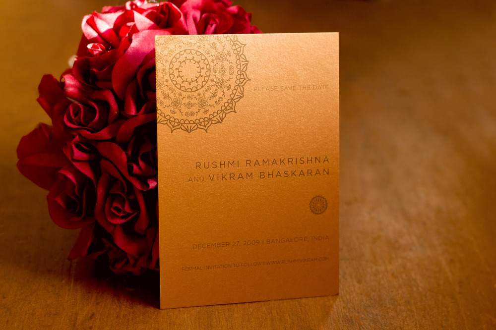Rushmi and Vikram  Special Design Notes/Theme:  Wedding in Bangalore  Printing Method:  Offset  Paper:  Stardream Metallic