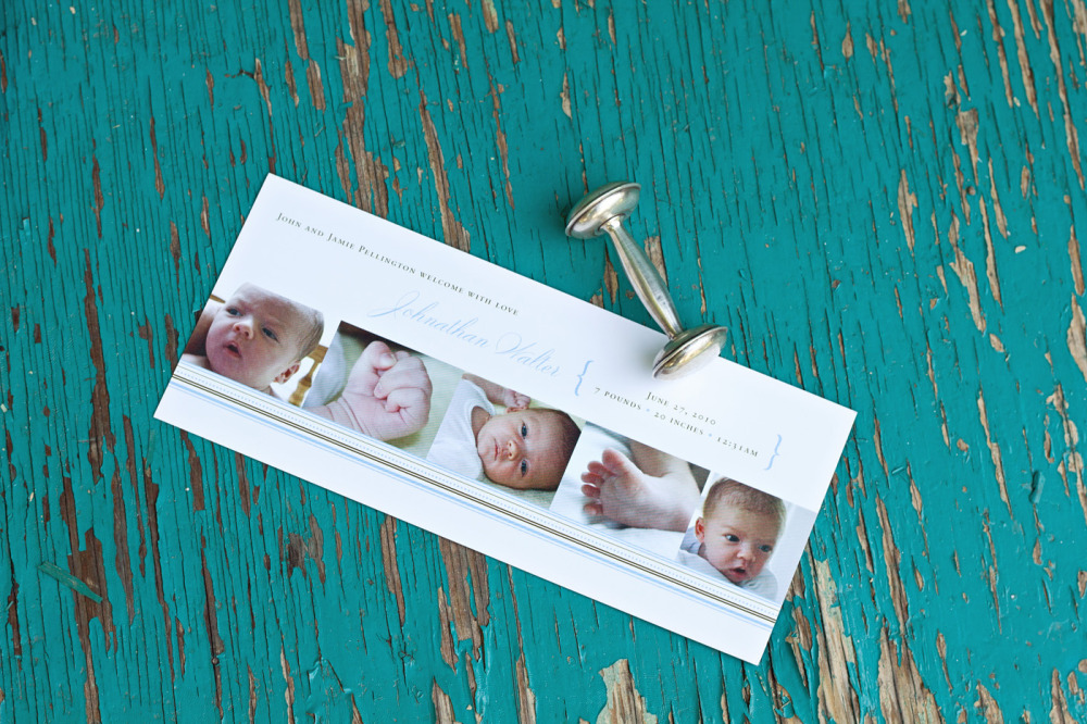 Johnathan   Special Design Notes /Theme:  Design incorporates up to 5 photos of your baby; announcement measures 4 x 9  Printing Method:  Digital press  Paper:  100# coverstock