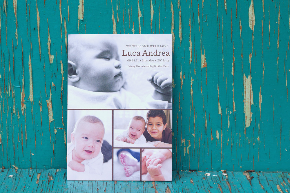 Luca   Special Design Notes /Theme:  Design incorporates up to 4 photos of your baby; announcement measures 5 x 7  Printing Method:  Digital press  Paper:  100# uncoated coverstock