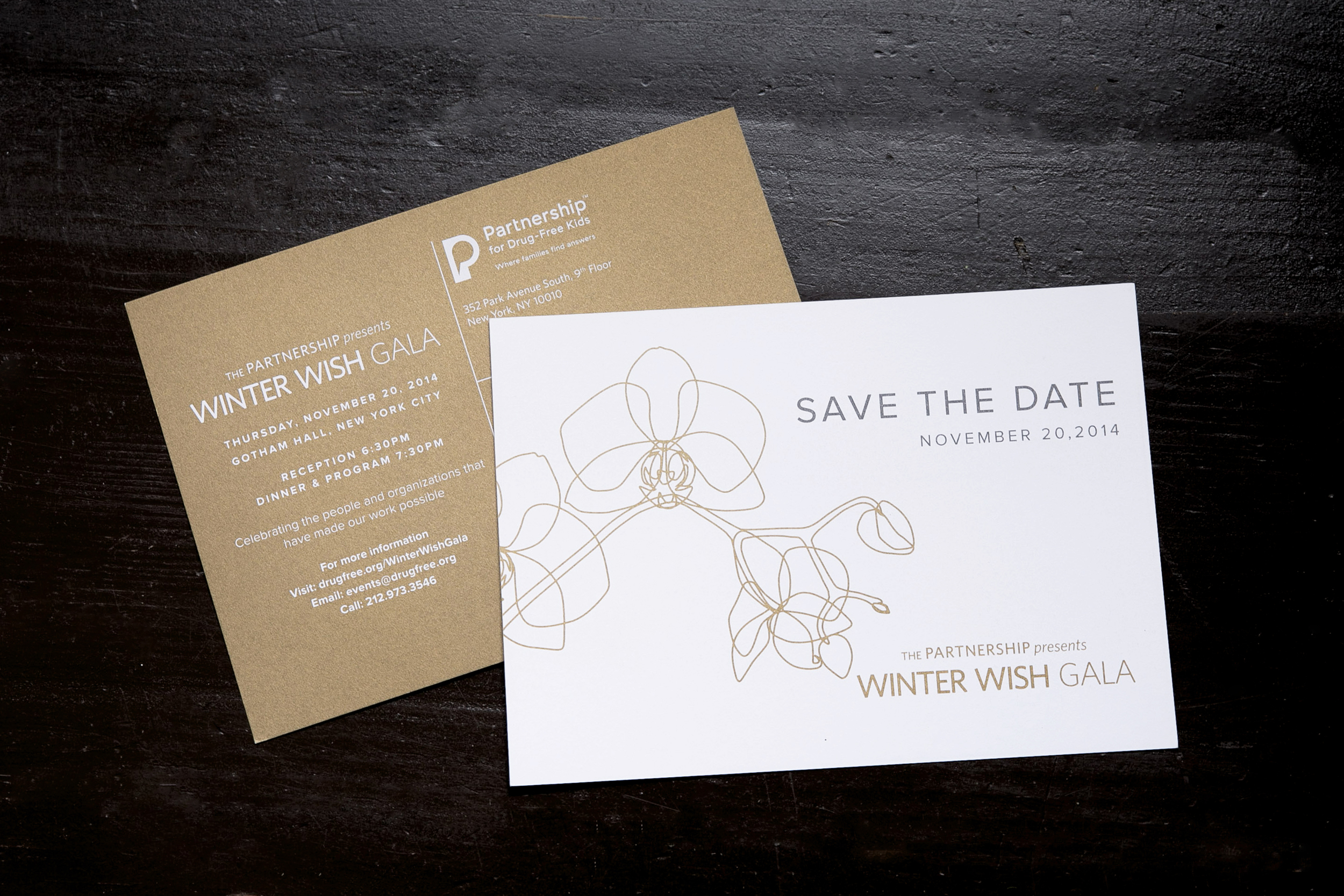 We are often asked by corporate clients to design invitations for their events. This save the date post card was designed for the Partnership for Drug-Free Kids' Winter Wish Gala. The invitations were just being sent out when this was photographed. Photography by: Simply Sweet Snapshots