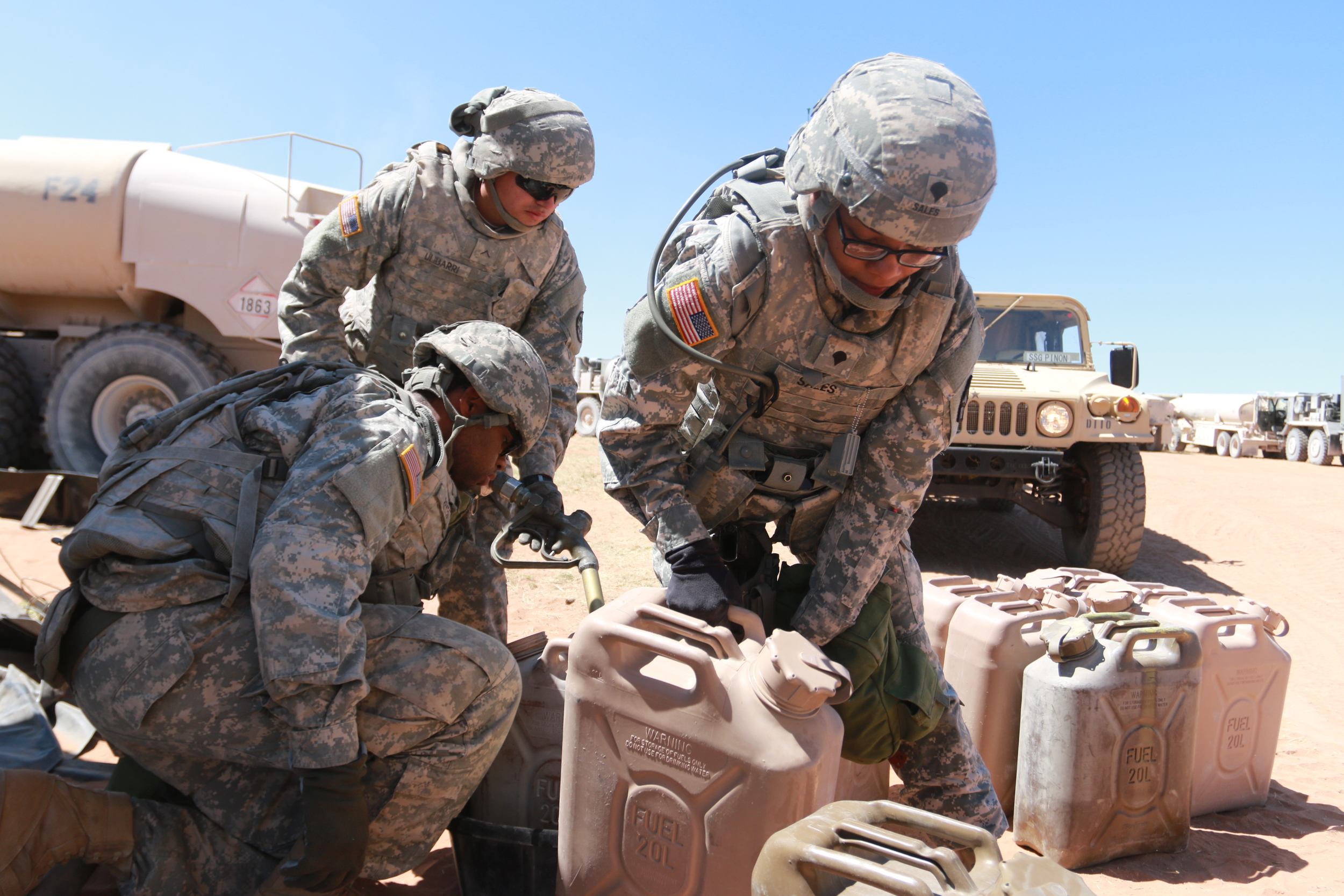 Fort Bliss troops prepare during Iron Focus, a two-week realistic training exercise that began April 23, 2015. Iron Focus is one of the largest in the nation, and one of the final steps before being deployed.