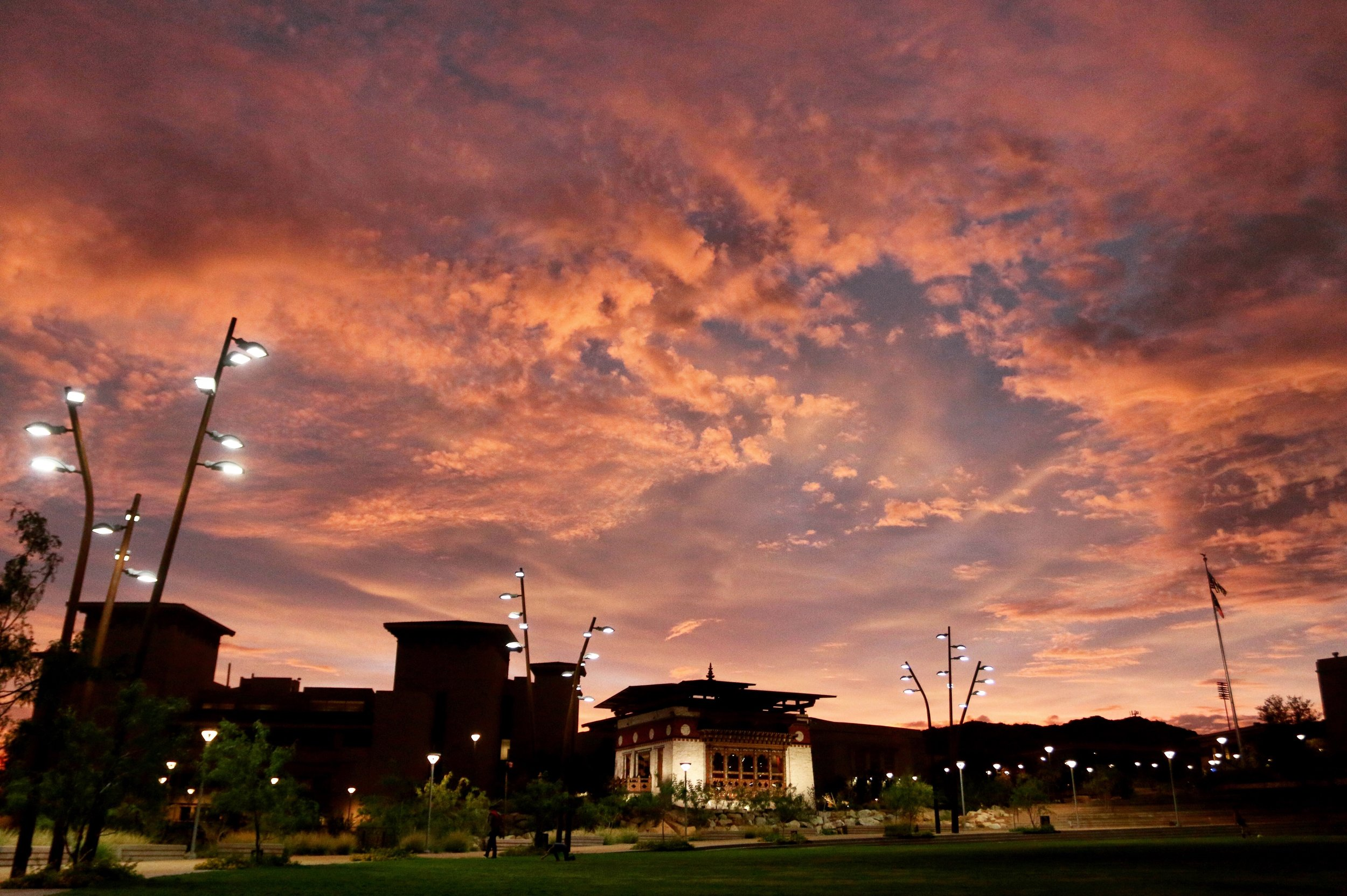 The sky turns pink over Centennial Plaza at The University of Texas at El Paso on Sept. 21, 2015.