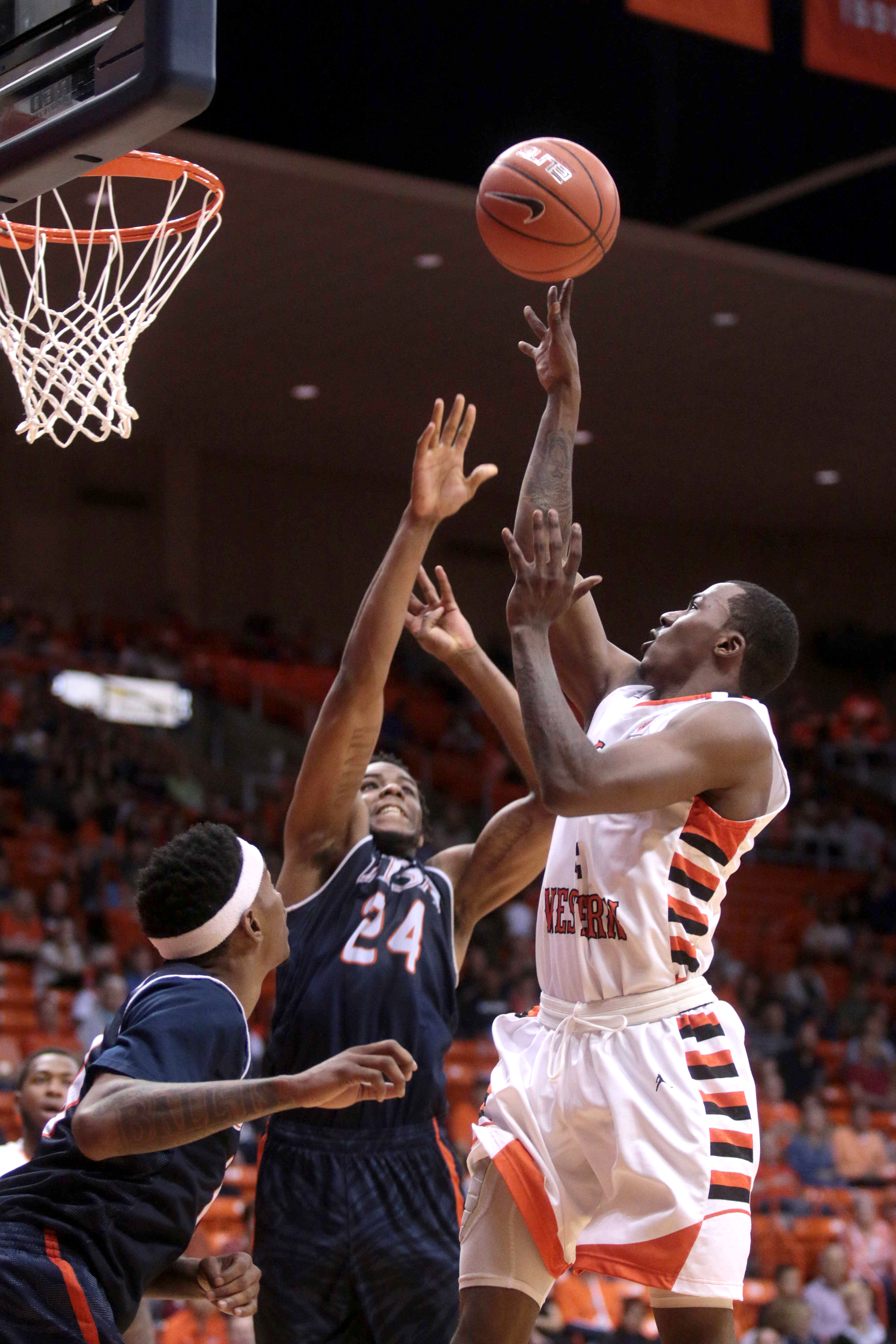 UTEP guard Lee Moore goes up past UTSA's defense at the Don Haskins Center in El Paso, Texas on March 5, 2016.