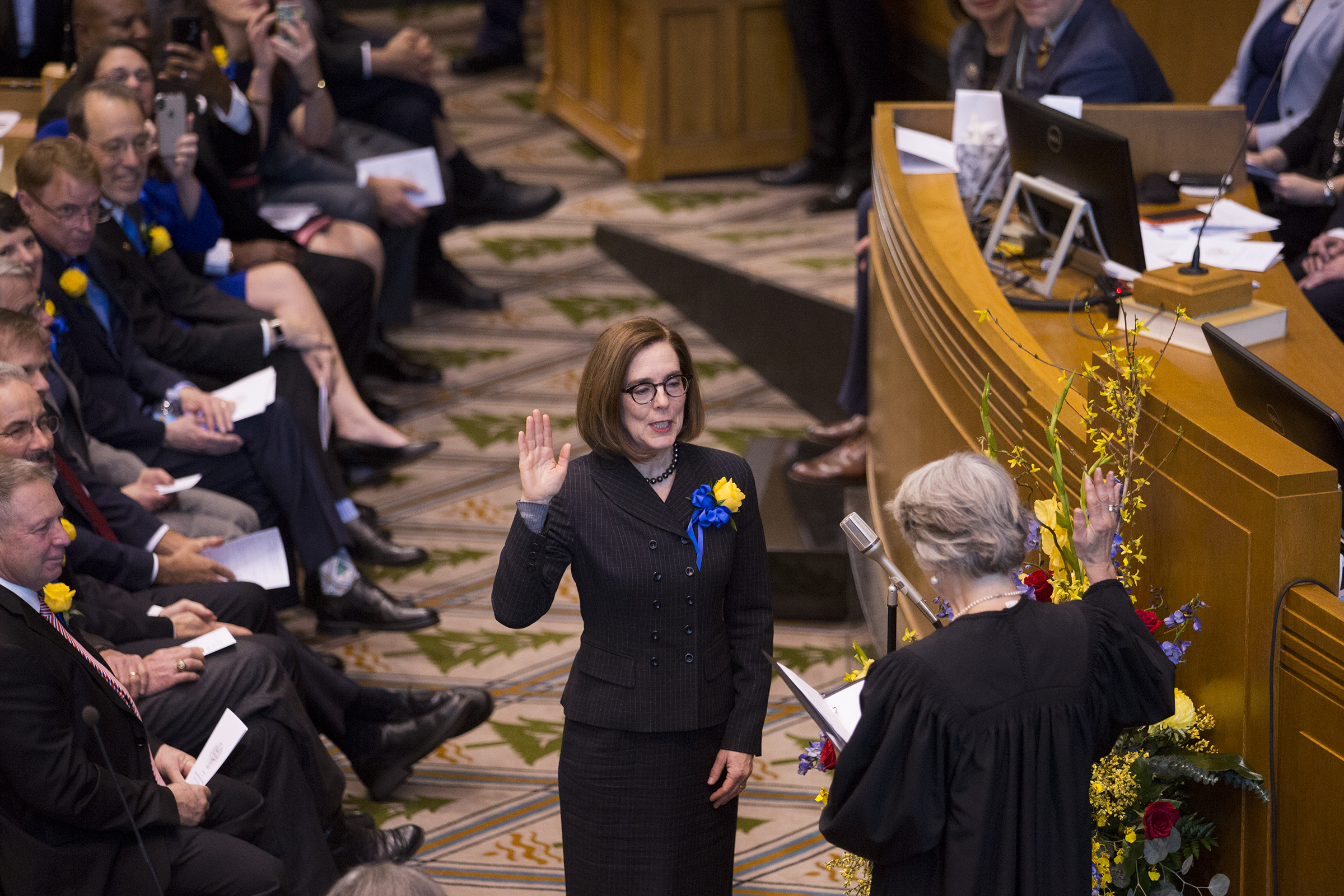 Governor Kate Brown is sworn in at her inauguration at the Oregon State Capitol in Salem, Oregon on Jan. 14, 2019.