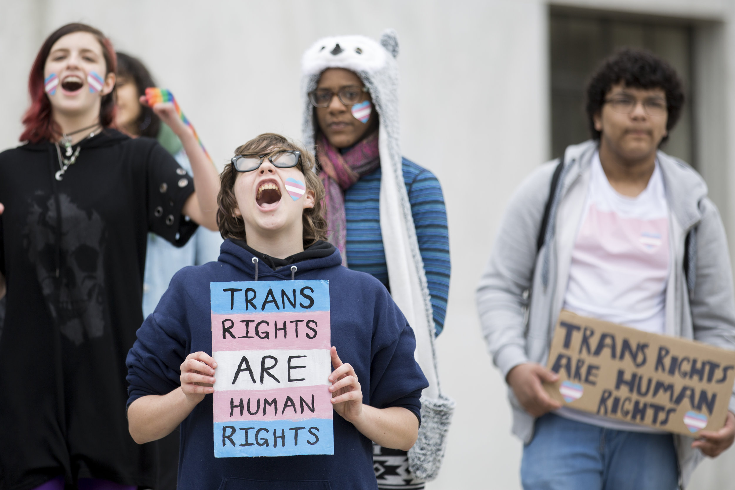 Students from South Salem High School and North Salem High School speak out against recent administration policies regarding transgender rights on the steps of The Oregon State Capitol on Thursday, Nov. 15, 2018.
