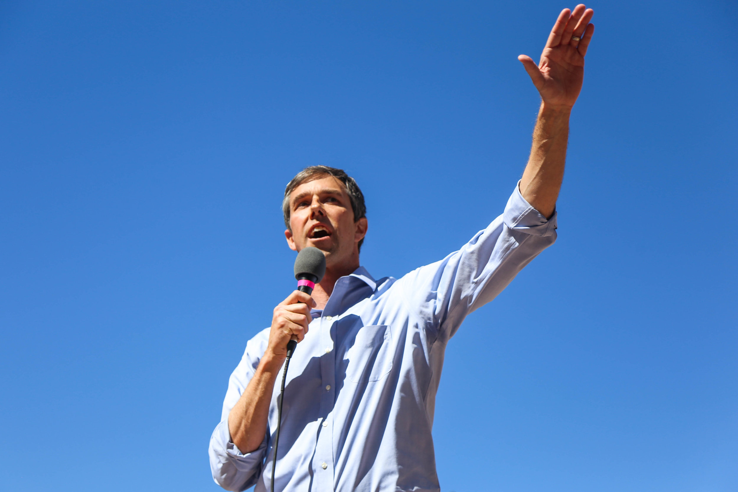 U.S. Representative Beto O'Rourke speaks at a town hall in his hometown of El Paso, Texas at San Jacinto Plaza before walking to the courthouse to vote on the last day of primary early voting, Friday, March 2, 2018.