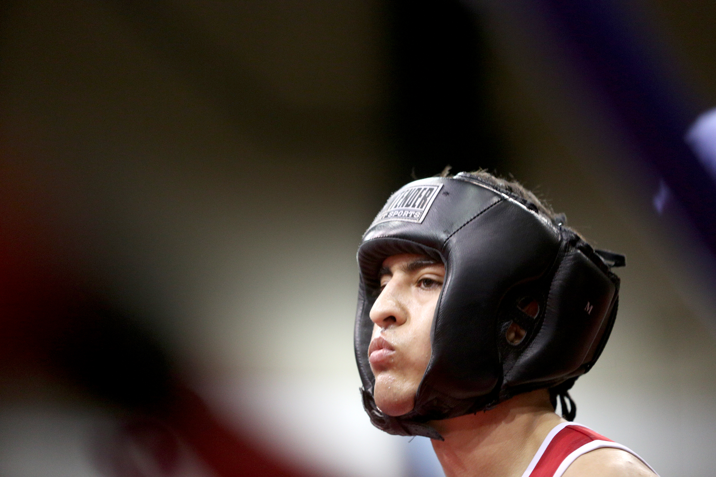 Ammeter boxer Jonathan Peña gets ready for his match at the Oregon Golden Gloves championship tournament at the Salem Amory on Saturday, Feb. 2, 2019.