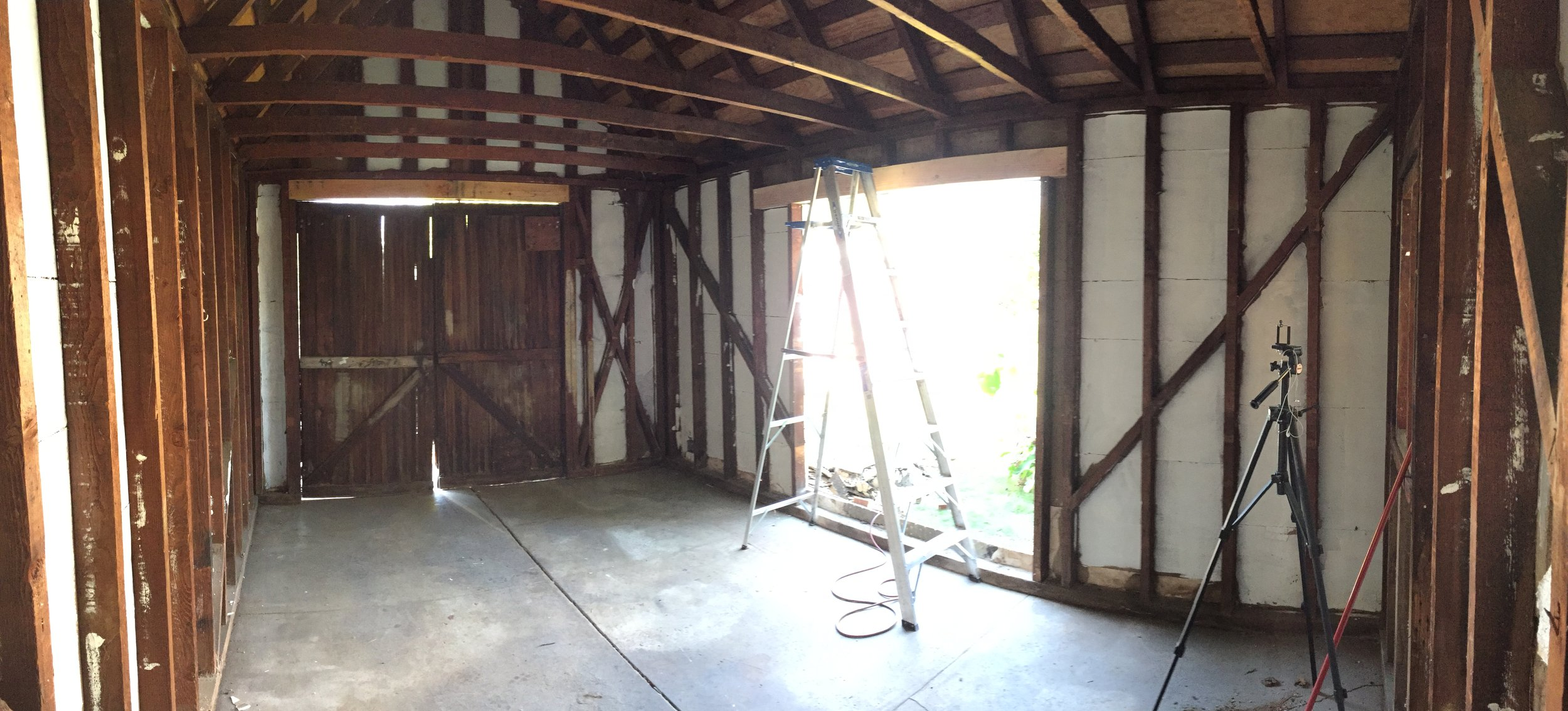 Demolitions completed and new doorway framed in.