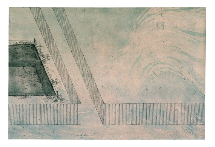 """Cautionary Privacy , collograph, etching, chine colle, 2014, 30""""x40"""""""