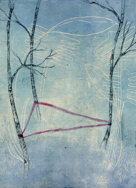 """Secret Spaces: Among the Trees, collograph, etching, chine colle, 2013, """"15 x 22"""""""