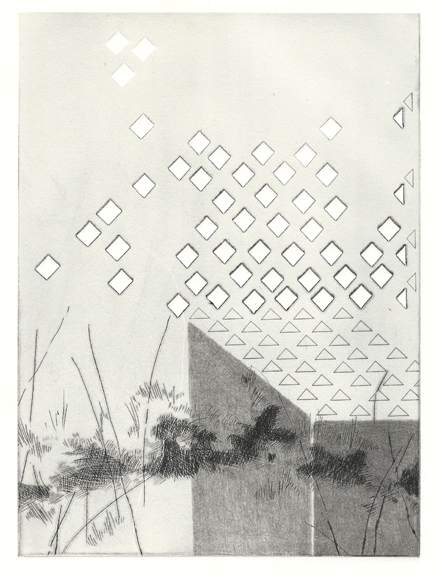 """Momentary Mechanisms:Needed Release,  drypoint on laser cut plexi, 11""""x15"""", 2015"""