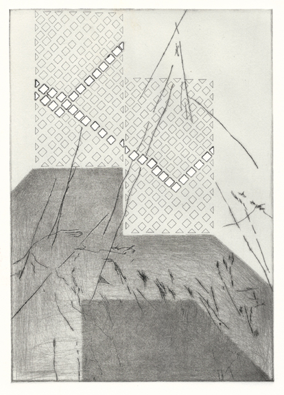 """Momentary Mechanisms:Compartmentalization,  drypoint on laser cut plexi, 11""""x15"""", 2015"""