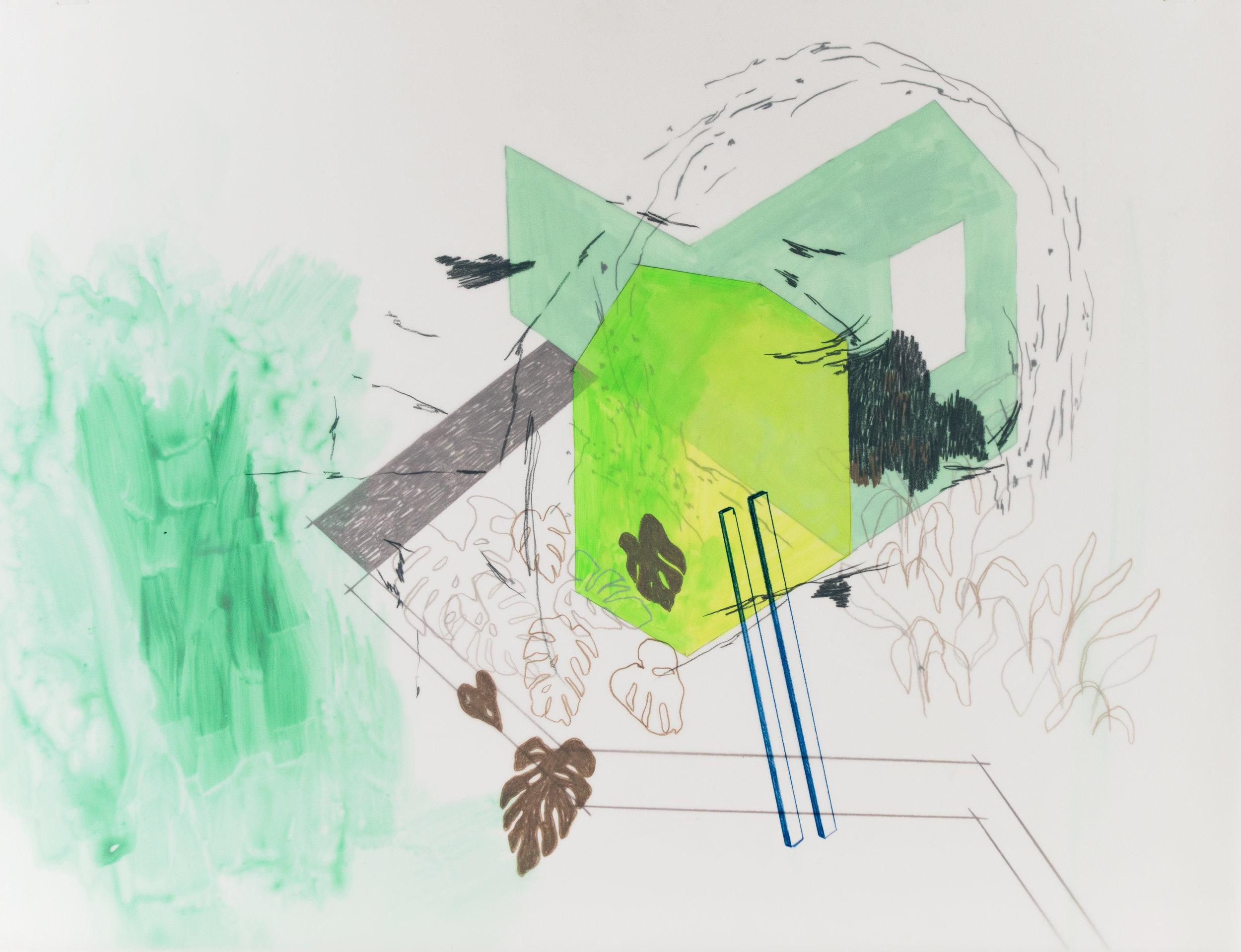 """an internal homeland , acylic gouache and colored pencil on mylar, 2016, 16""""x 20"""""""