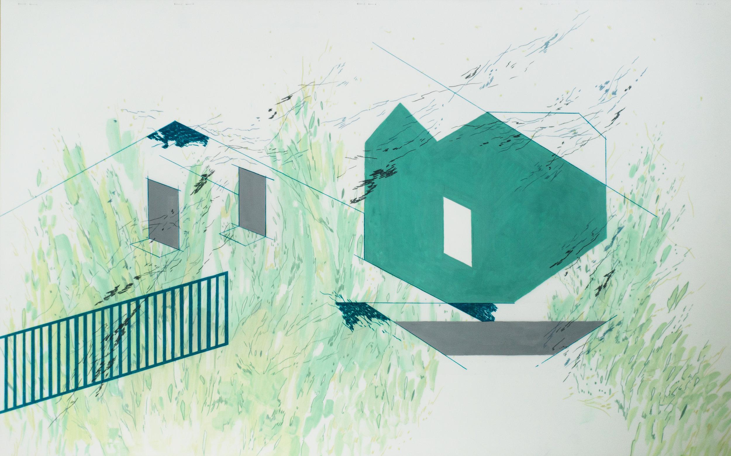 "maintaining the overgrowth, acrylic gouache and colored pencil on mylar, 2017, 40""x25"""