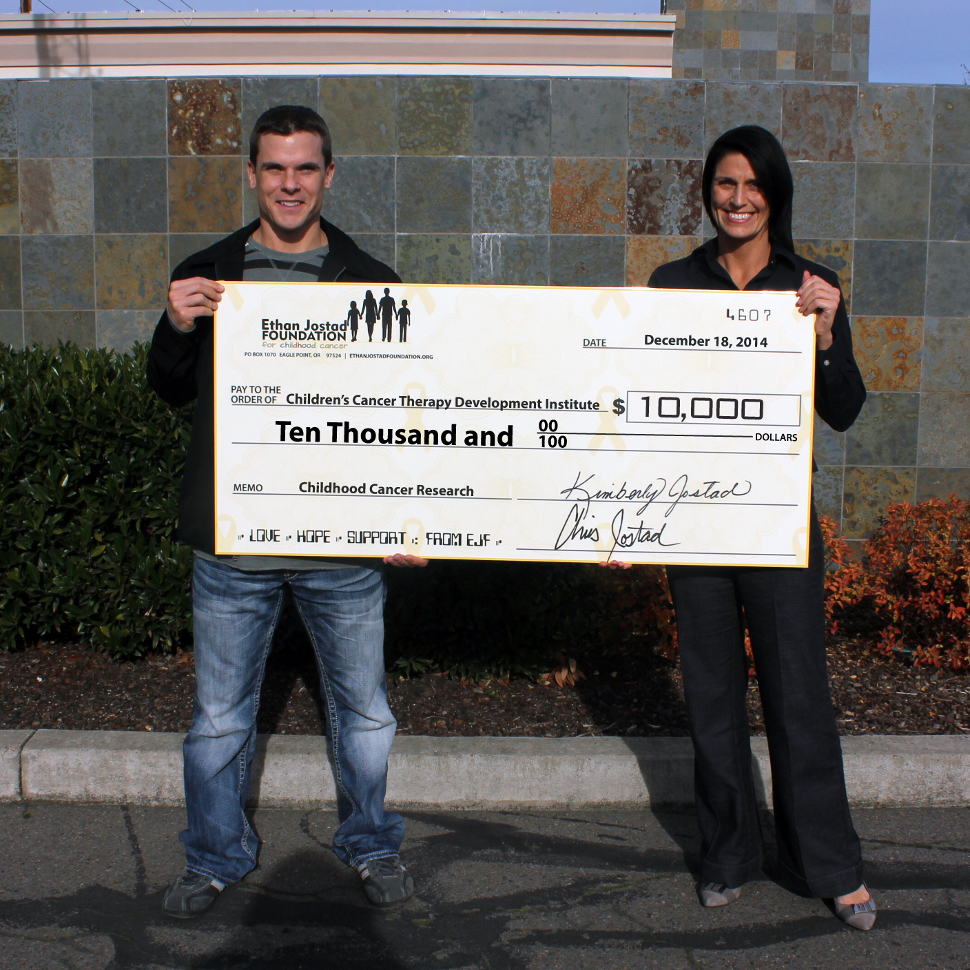 Chris & Kim Jostad, co-founders of EJF and the donation to cc-TDI in December of 2014.