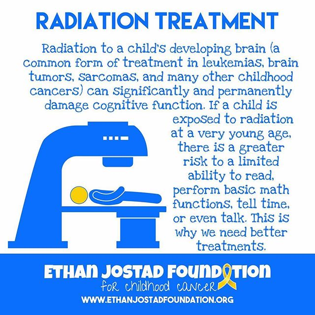 Today's Childhood Cancer Awareness Fact deals with a common form of treatment in many childhood cancers – radiation, or radiotherapy. While it is effective at destroying and shrinking tumors, radiation has long lasting effects on a child's body, especially the developing brain. Children exposed to radiation, especially cranial radiation, run the risk of significant, and sometimes permanent damage to their cognitive function. This affects the child's memory, attention, ability to read, the ability to perform basic math functions, and even the ability to tell time or talk. Childhood Cancer survivors often struggle in school and in everyday life after treatment due to these side effects. We need less invasive and damaging treatment options for our kids. #childhoodcancer #childhoodcancerawareness #gogold #morethan4 #radiation #radiationtherapy #honestlovesmax #ethanjostadfoundation