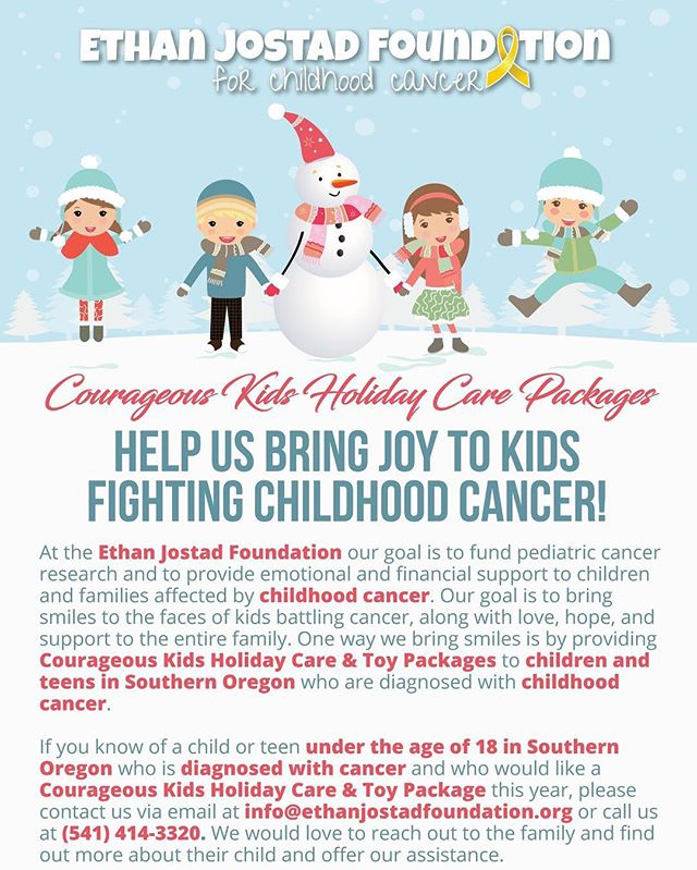 Hello Southern Oregon! We need your help! We want to bring some smiles and joy to the faces of children and teens in our local region of Southern Oregon this holiday season who are fighting cancer. If you know of a child under the age of 18 who is battling cancer, please contact us or have their family contact us. We would love to provide them with a toy or care package this holiday season. See the flyer and the attached map for more information.  Southern Oregon includes the counties of Jackson, Josephine, Klamath, and Douglas (and cities and areas around Ashland, Medford, Central Point, Klamath Falls, Grants Pass, Cave Junction, Glendale, Roseburg, and Sutherlin). Please share this post on your wall with your family and friends to help us get the word out! #childhoodcancer #childhoodcancerawareness #ethanjostadfoundation #kidsgetcancertoo