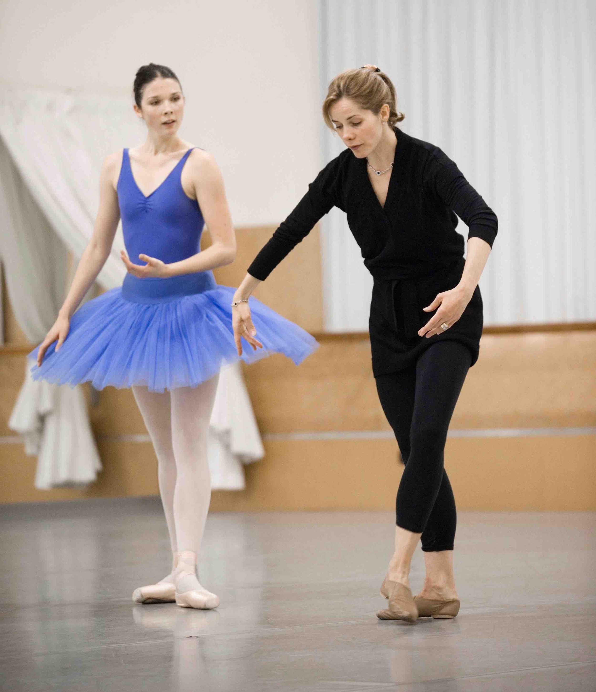 Darcey Bussell coaching NZSD student Laura Saxon-Jones. By Stephen A'Court.