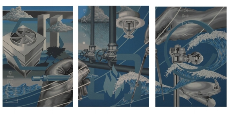The Seaman Engineering mural panel triptych