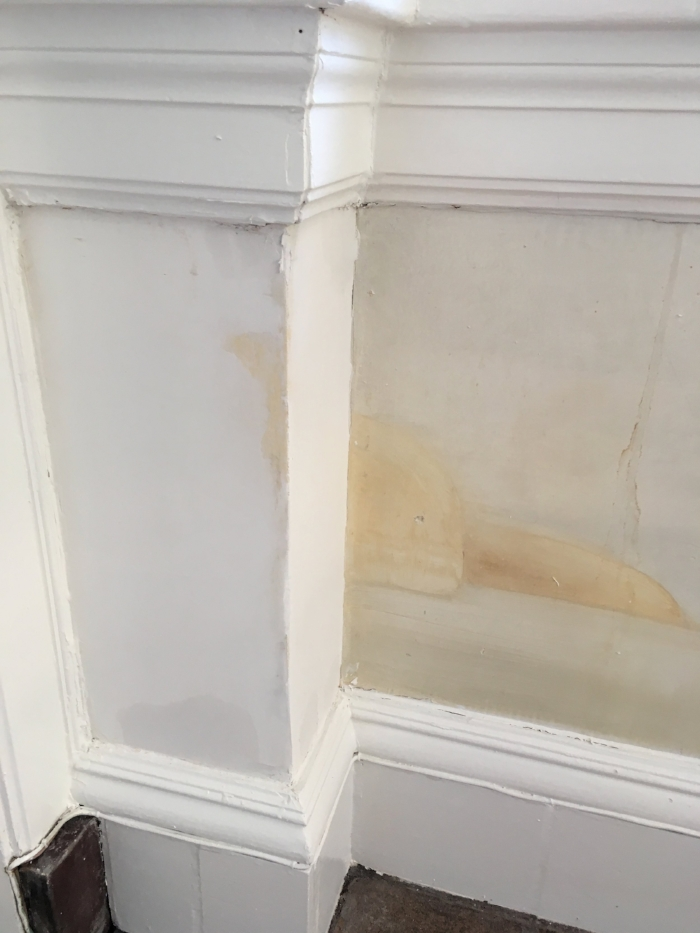 The bottom corner after plaster