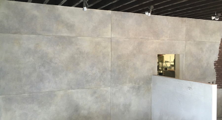 A section of the finished wall