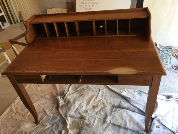 """The desk before refinishing. I forgot to take a """"before"""" shot of the chair (!), but you can just see the frame behind the desk"""