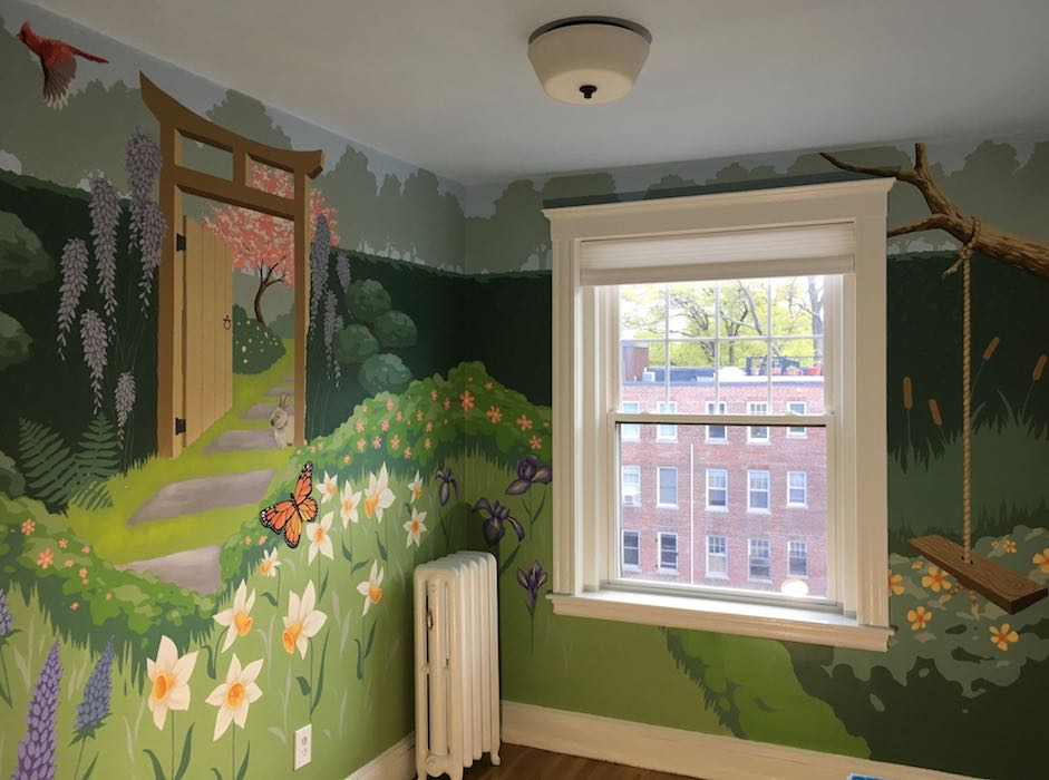 2-wall Girl's Room Mural in Brookline, MA